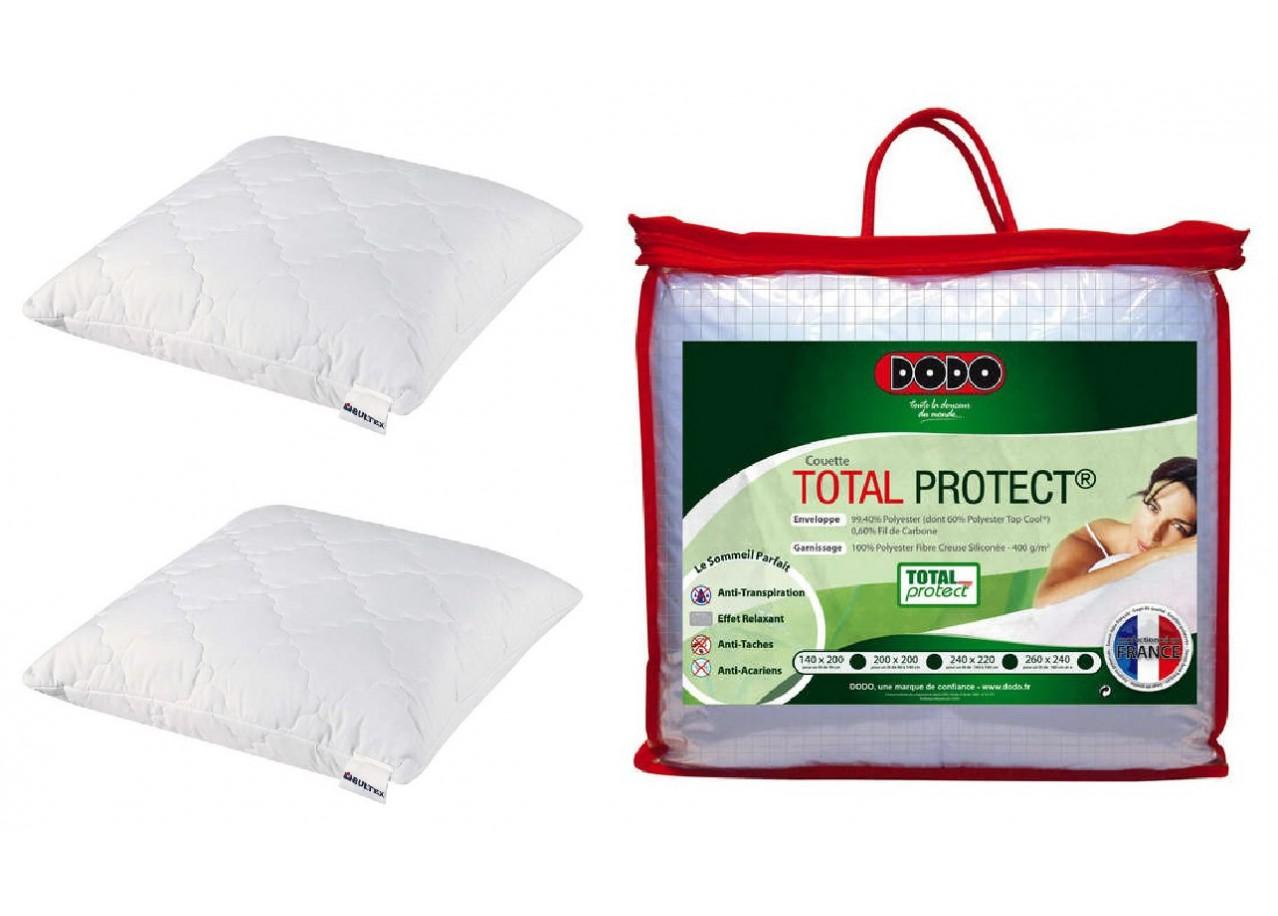 Location de meuble kit oreiller et couette en microfibre - Couette anti transpiration dodo ...