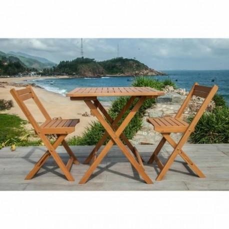 Ensemble SAKI - Table de jardin + 2 chaises