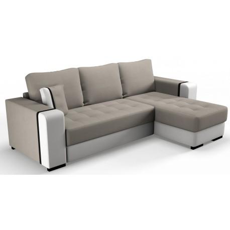 Canapé d'angle convertible avec coffre LEEDS Beige